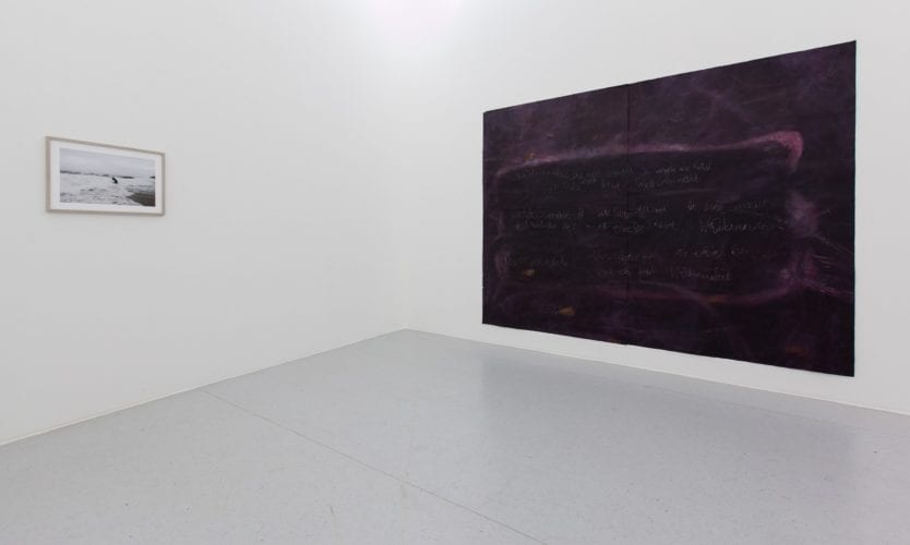 Installation view with works by Julius von Bismarck and Anja Langer
