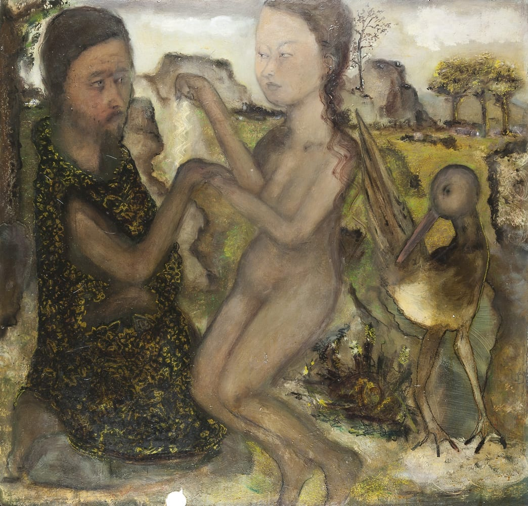 Man, Woman and Bird, 2008, Öl auf Hartpappe, 99 x 103 cm