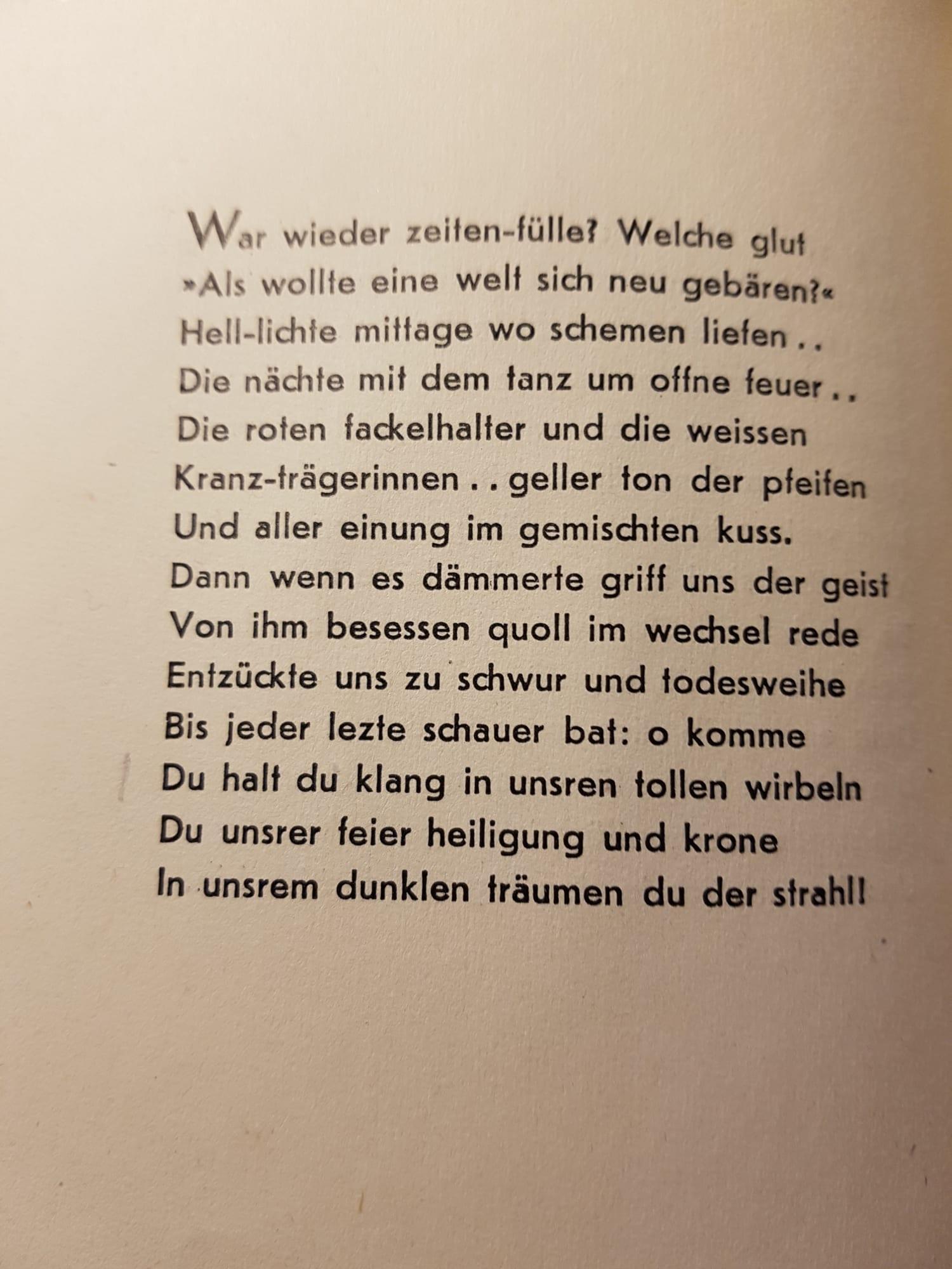 Stefan George - War wieder zeiten-fülle, aus 'Stern des Bundes' 1914