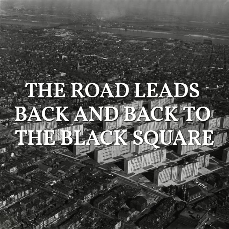 The road leads back and back to the black square