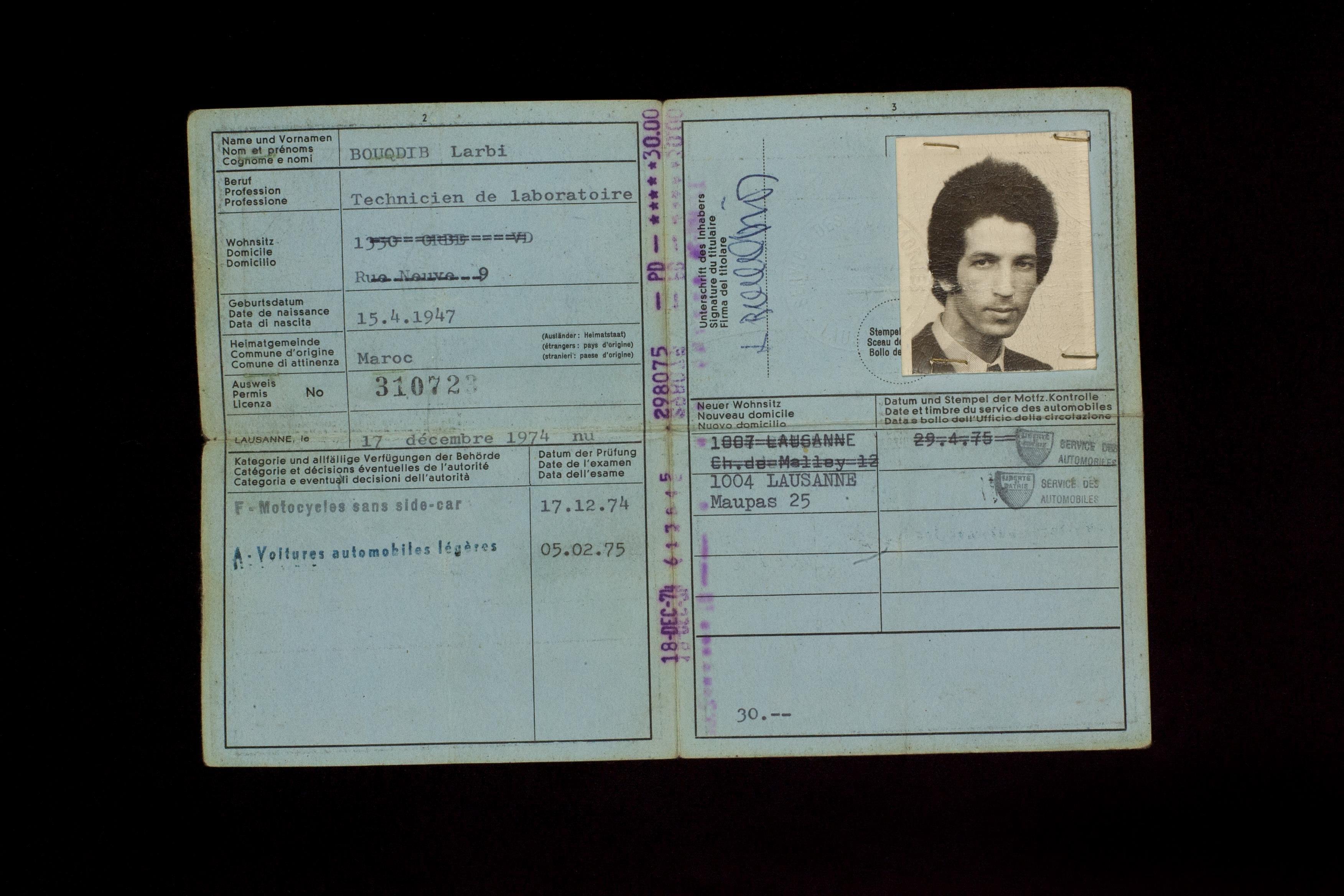 1-6 | Führerausweis # 310723 | Permis de conduire # 310723 (17. Dezember 1974)