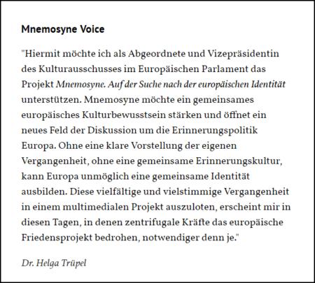 Mnemosyne Voice von Helga Trüpel