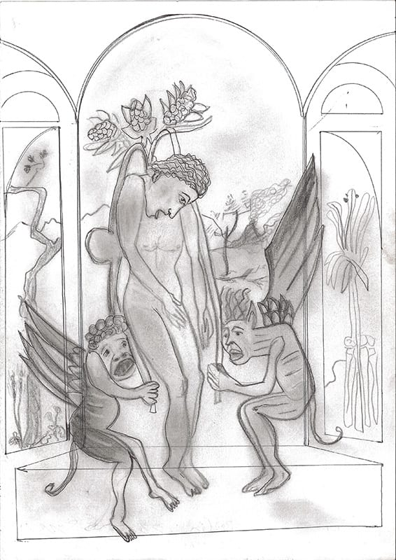 Selfmorde des Judas, 2007, Bleistift und Kugelschreiber auf Papier
