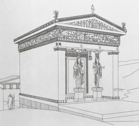 Thesaurós der Bewohner der griechischen Kykladeninsel Σίφνο Sifnos am Apollon Orakel in Delphi.