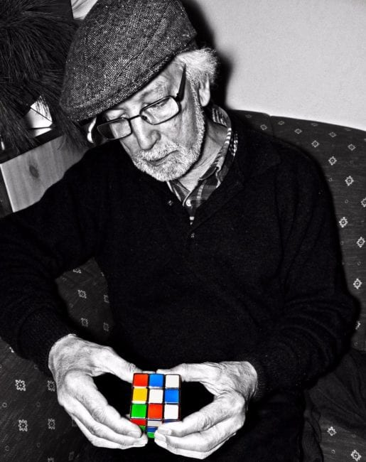 El Arbi Bouqdib with a Rubik's Cube