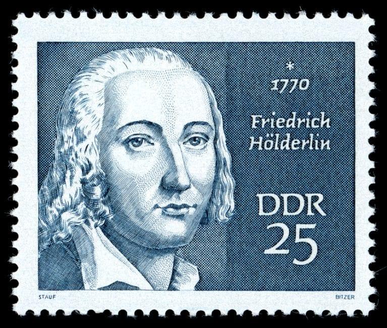 25-Pf-Sondermarke der DDR-Post (1970) zum 200. Geburtstag Friedrich Hölderlins aus der Serie Berühmte Persönlichkeiten.